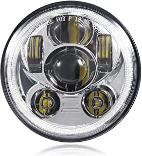 5-3/4 5.75 Inch LED Headlight with Halo DRL for Harley Davidson Dyna Street Bob Super Wide Glide Low Rider Night Rod Train...