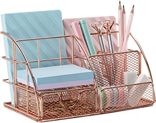 $23 » Rose Gold Desk Organizer for Women, AUPSEN Mesh Office Supplies Desk Accessories, Features 5 Compartments + 1 Mini Sliding Drawer