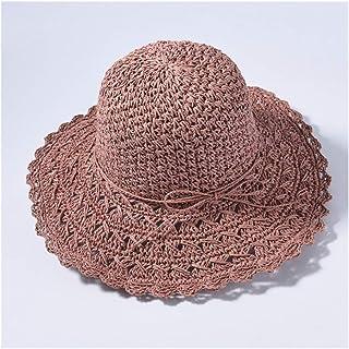 SHENTIANWEI Straw Big Straw hat Visor Female Sunscreen Holiday Travel Beach hat Sun hat (Color : Leather Powder)