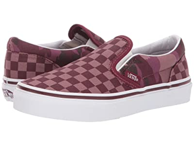 Vans Kids Classic Slip-On (Little Kid/Big Kid) ((Tonal Checkerboard) Port Royale/Camo) Boys Shoes