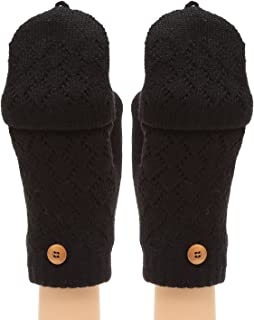 MIRMARU Women's Knitted Fingerless Mitten Gloves with Flip Cover with Faux Fur Lining