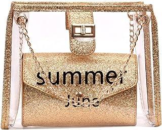 Wultia - Transparent Jelly Bag Fashion High Quality PVC Women's Designer Handbag Cute Girl Lock Chain Shoulder Messenger Bags #G8 Gold