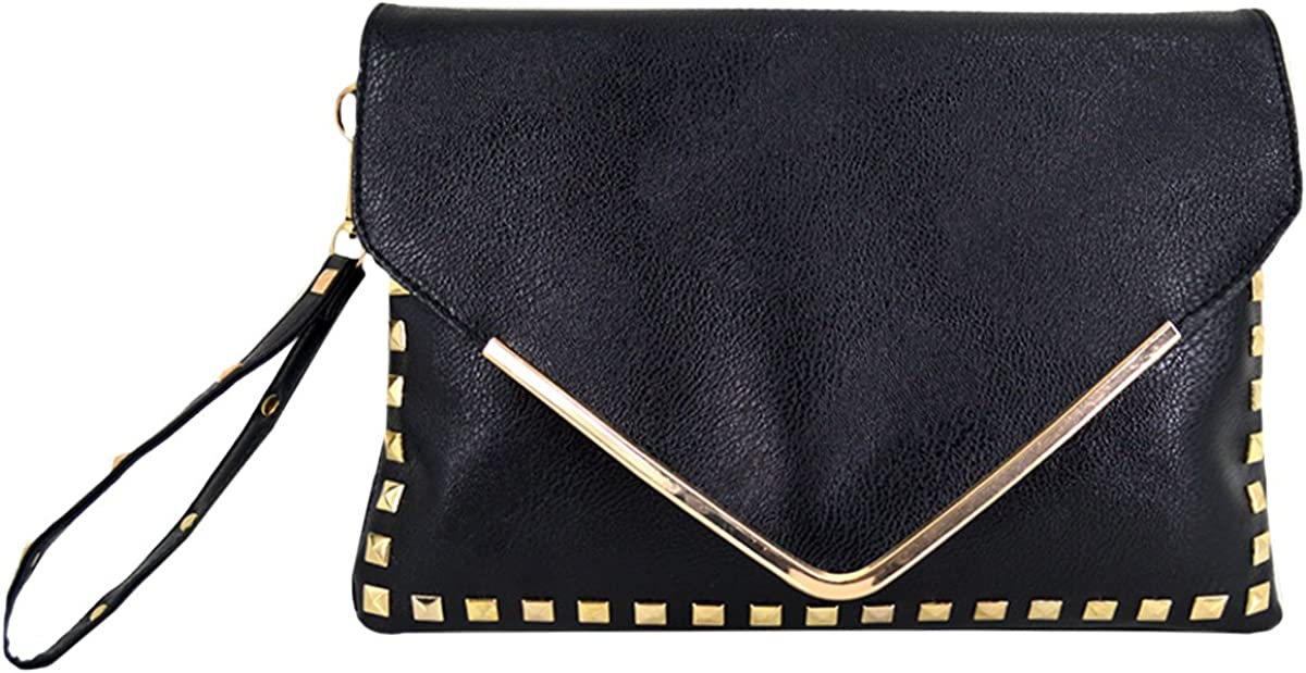 Max 75% OFF Rebecca Women Classic We OFFer at cheap prices Rivets Handbag Envelope Bag Leather PU Por