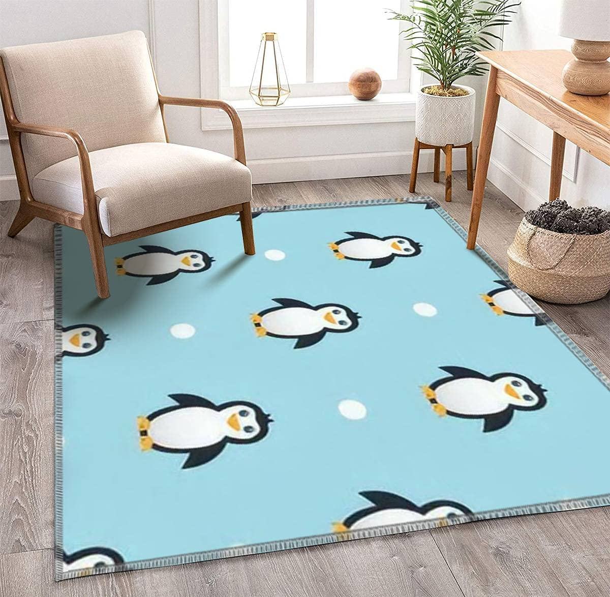 Kids Fashionable Area Rugs Penguin Seamless Some reservation Pattern Light Blue on Background