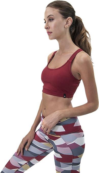 Satva Womens Organic Cotton Workout Running Training Yoga Strappy Bralette Kala Sports Bra with Removable Pads