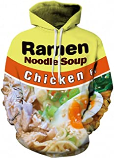 3D Ramen Chicken Noodle Soup Hoodie Beef Sweatshirt for Men Women Cotton Cute
