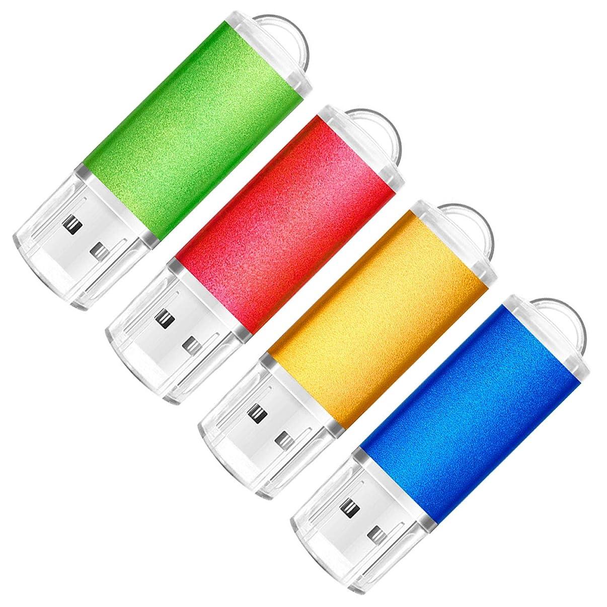 SumDuta 4 Pack 16GB USB 2.0 Flash Drive Thumb Drives Memory Stick, 4 Colors: Blue Green Gold Red
