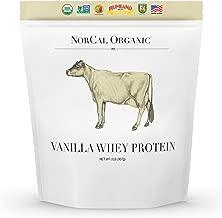 Norcal Organic Grass Fed Whey Protein Powder, Vanilla, 2lbs   21g Protein, 4.9g BCAA, 100 Calories per Serving   Pasture Raised, Non-Denatured, Non GMO, Soy Free, Gluten Free, Source Organic