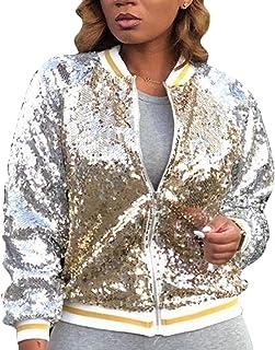 Nanquan Women Long Sleeve Zipper Casual Fit Glitter Sequin Athletic Baseball Jacket