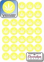 35 x 35 mm pegatinas hoja cumpleaños evento divertido Scrab libro novedad marihuana hoja de hierba – amarillo
