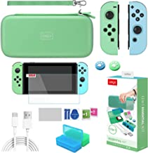 Switch Accessories Bundle for Animal Crossing, RHOTALL 12 in 1 Accessories kit with Carrying Case, Silicone Joy Con Covers, Game Card Cases, Screen Protector, Thumb Grip Caps and USB C Charging Cable