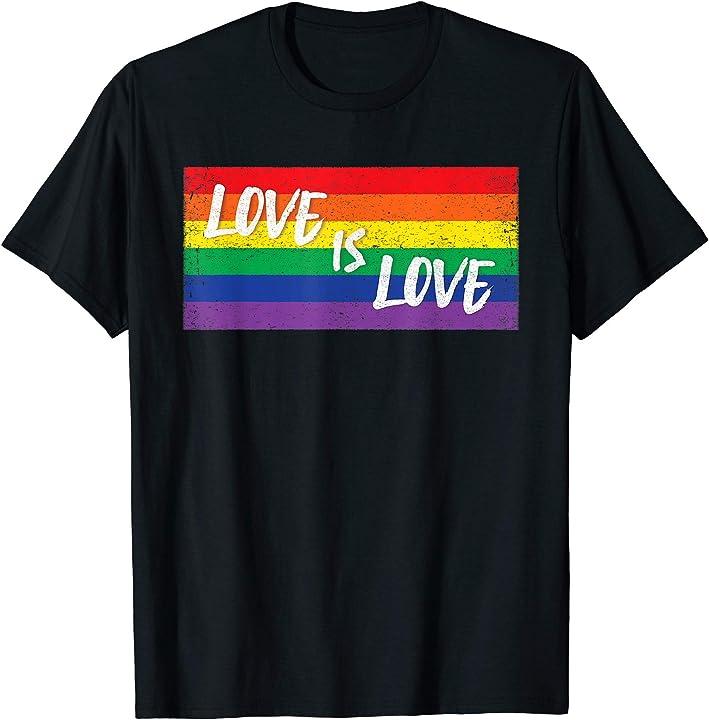 Love rainbow equality flag LGBT gay and lesbian pride shirt