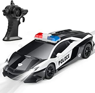 DARVIQS Remote Control Car for Kids, RC Police Car with High Speed 2.4Ghz Rechargeable Batteries, Anti-Collision Remote Control Cop Vehicle Toy with Lights, Great Xmas Gift for Boys Girls