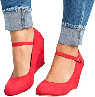 Womens Wedge Pumps Mary Jane Ankle Strap Round Toe High Heel Office Work Shoes