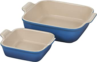 Le Creuset Stoneware Heritage Set of 2 Square Dishes , Small - 18 oz. & Medium - 2 qt., Marseille