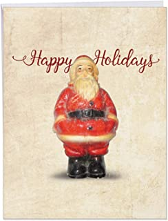 Xmas Antiquities Happy' Jumbo Christmas Card with Envelope 8.5 x 11 Inch - Santa Claus Antique Vintage Figurine Design Stationery Set for Personalized Holiday Message and Season's Greetings J6719BXSG