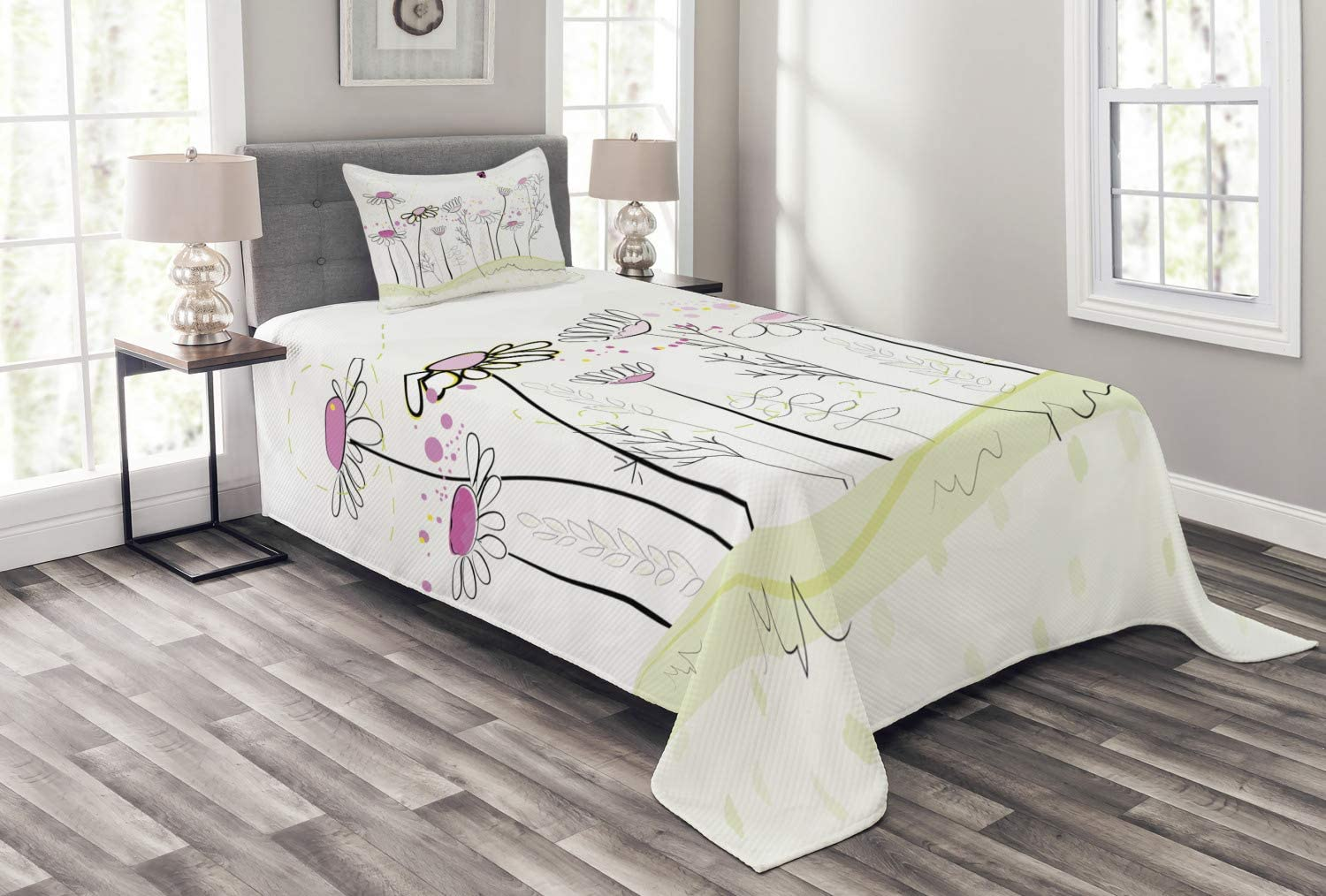 Lunarable Nature Cheap mail order sales Portland Mall Bedspread Flowerbed Spring with Chamomiles Han