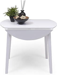 Mesa de Comedor o Cocina Redonda Extensible Dallas de 90 cm de diámetro (17555  175 cm) Madera lacada Color Blanco