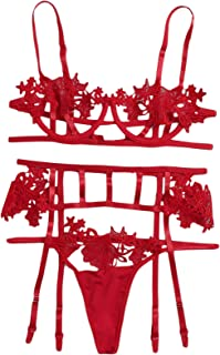 مجموعة الملابس الداخلية من الدانتيل للنساء من Florens مع أحزمة رباط وجوارب