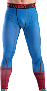 Red Plume Men's Compression Elastic Tight Leggings Sport Spider Printing Pants