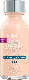 L'Oreal Paris Makeup True Match Super-Blendable Liquid Foundation, Fair Ivory C0.5, 1 Fl Oz, 1 Count