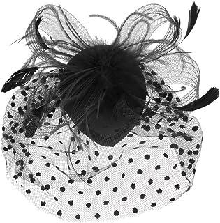 PIXNOR Maglia da sposa faccia velo piuma Fascinator capelli Clip (nero)