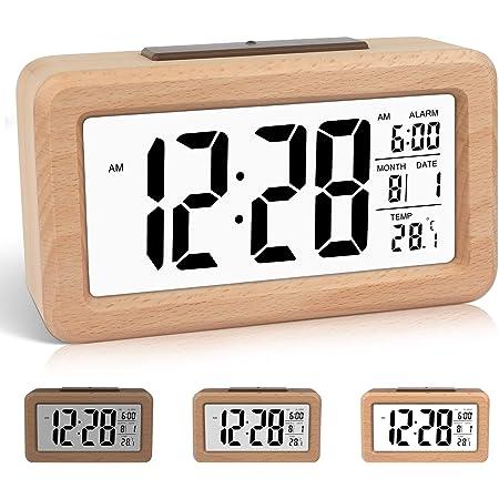 DTKID Réveil numérique en Bois à réglage Facile avec température, Date, rétro-éclairage, répétition, pour Chambre à Coucher, Chevet, Maison, Bureau, Non Ticking