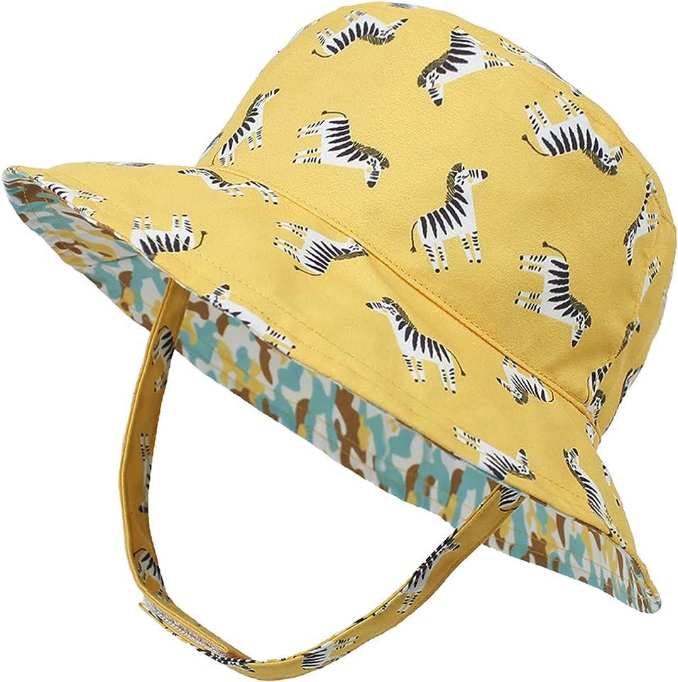 Baby Sonnenhut mit Verstellbarem Kinnriemen UV Schutz 50 Sommermütze Mädchen Jungen Hüte Outdoor Cap Niedlicher Muster Fisherhut Reversible Kinder Faltbare Strandmütze Alter 0-5