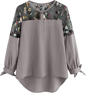 Women's Floral Embroidered Lace Panel Tie Cuff High Low Blouse Top