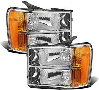 Partsam Headlight Assembly Compatible with GMC Sierra 1500 07-13 Pickup/GMC Sierra 2500 HD 3500 HD 07-14 Side Left Right Replacement Headlamps Amber Reflector Black Housing(Driver and Passenger Side)