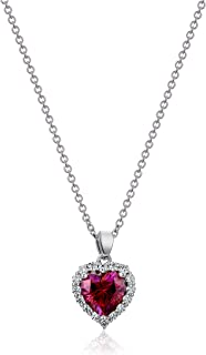 Platinum-Plated Sterling Silver Swarovski Zirconia Red Heart Halo Pendant Necklace,16