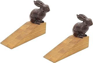 OwlGift Rustic Bamboo Rabbit Door Stopper, Decorative Rustic Door Stop, Bedroom, Bathroom, Windproof Door Holder for Patio Yard Garden Farmhouse – Dark Brown (Set of 2)