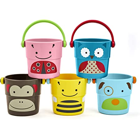 Skip Hop Baby Bath Toy, Zoo Stack & Pour Buckets