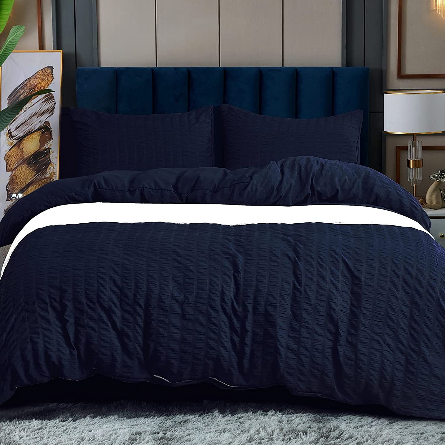 Navy Blue Seersucker Duvet Cover low-pricing King Size Mic Soft Industry No. 1 Washed 100%