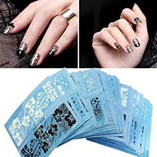 Jocestyle 3D Nail Stickers 48 Sheets Water Transfer Tattoo Black White Lace Nail Art Decals