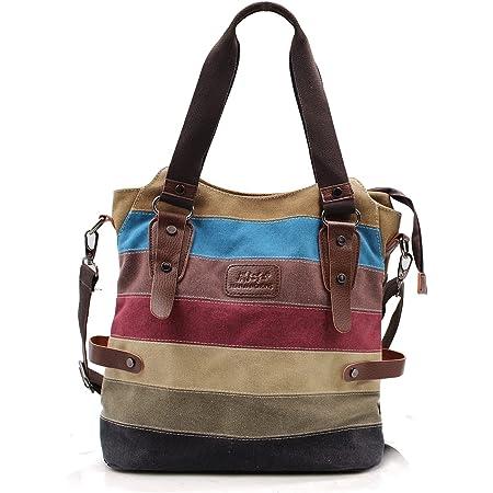 NEWLIUXI Damen Handtasche, Canvas Tasche Multi-Color Streifen Umhängetasche, Tote Große Kapazität Shopping Casual Crossbody Hobo Bag