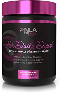 NLA for Her - Her Daily Digest - Natural Support for Better Digestion – Bloating, Constipation + Gas Relief – Digestive Enzymes for Dairy Digestion and Lactose Absorption - 90 Vegetarian Capsules