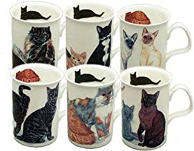 Roy Kirkham Cat Lover Mug Set of 6 Bone China Mugs from England