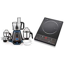 Preethi Zion MG-227 750-Watt Mixer Grinder with 4 Jars (Black) + Preethi Trendy Plus 116 1600-Watt Induction Cooktop (Black)