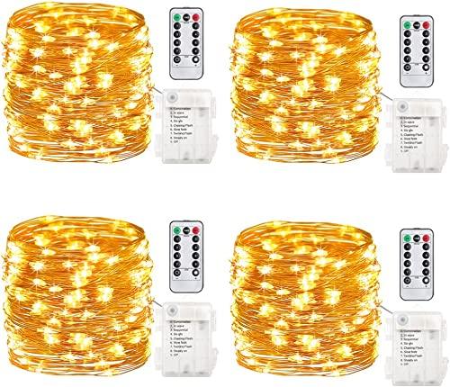 GDEAER TS11 4 Pack 16.4 Feet 50 Led Fairy Lights Battery Operated with Remote Control Timer Waterproof Copper Wire Tw...