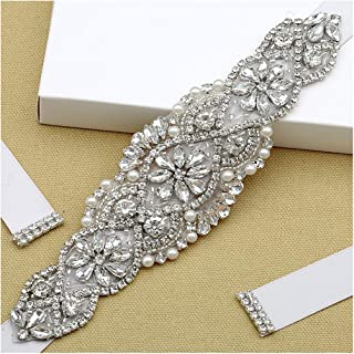 Crystal Diamond Bridal Belt Sashes Gorgeous Clear Crystal 7.5In Lenght 2In Width for Bride Bridemaid Wedding Party Dress Silver