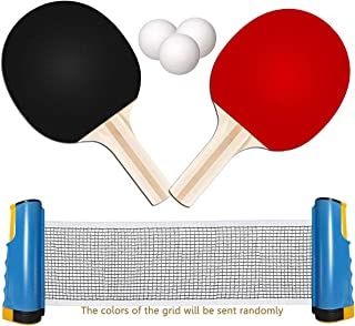 TOMAT Retractable Portable Table Tennis Net Ping-Pong Paddles Kit Expandable Telescopic Table Tennis Sport Accessories Set for Indoor, Garden Games