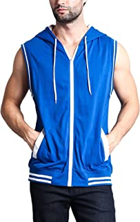 Men's Lightweight Athletic Casual Sleeveless Contrast Zipper Hoodie