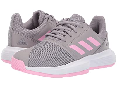 adidas Kids Court Jam XJ Tennis (Little Kid/Big Kid) (Light Granite/True Pink/Footwear White) Girls Shoes
