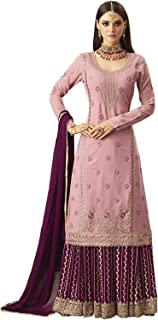 Comet Enterprise Women's Faux Georgette Sharara Salwar Suit (Pink , Free Size)