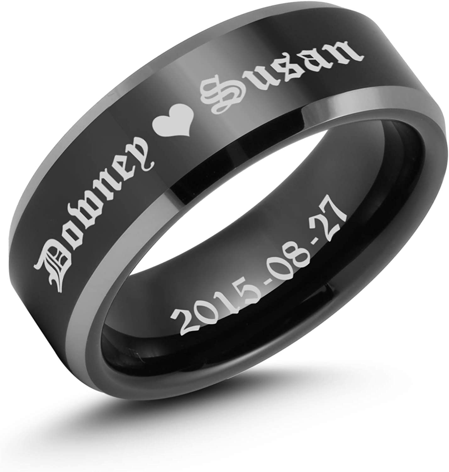 Ulan Moron Men's Rings 8mm Black Tungsten Daily bargain sale Promise Love Max 77% OFF R Carbide