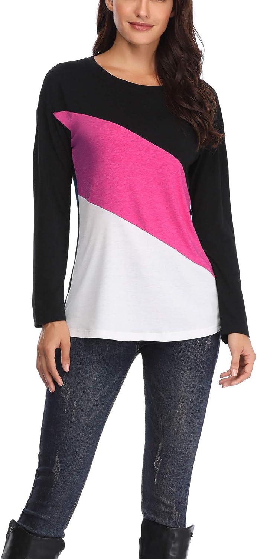 HUHOT Women Soft Crew Neck colorblock Shirt Long Sleeve Tee Blouse Tops
