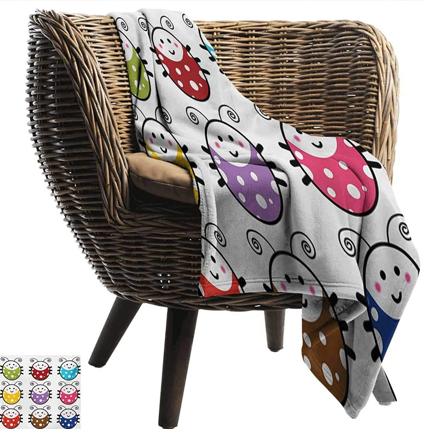 EwaskyOnline Ladybugs Knee Blanket Number of Cute Smiling Ladybugs Illustration in colorful Dot Design Kids Nursery Print Blanket on Bed Sofa Bedding 51  W x 60  L Multi