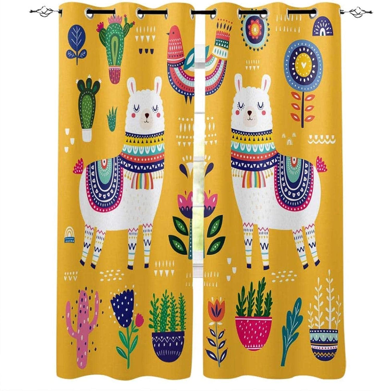 San Antonio Mall WEIQIQQ Blackout Curtain - Cute All items in the store Children I 110X98 Alpaca Cartoon