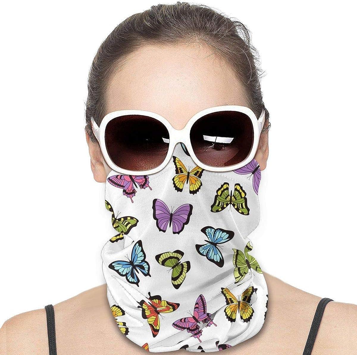 KiuLoam Women Bandanas Face Mask, Floral Butterflies and Flowers Neck Gaiter Mask Headband for Men Face Scarf Dust, Outdoors, Sports
